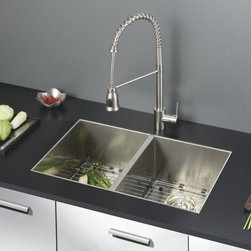 Ruvati - Ruvati RVC2338 Stainless Steel Kitchen Sink and Stainless Steel Faucet Set - Ruvati sink and faucet combos are designed with you in mind. We have packaged one of our premium 16 gauge stainless steel sinks with one of our luxury faucets to give you the perfect combination of form and function.