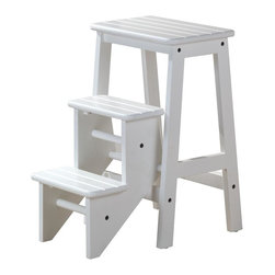 "Boraam - Boraam 24"" Step Stool in White - 24"" Step Stool in White by Boraam Hard to reach places? The Boraam Step Stool is just what you need! This well designed 3 level step-stool is perfect for those hard to reach places. Made out of solid hardwood construction and a safety latch, this stool is safe for everyone to use."