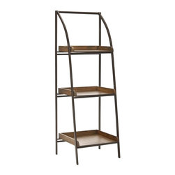 Safavieh Furniture - Taylor Iron Leaning Etagere in Black - Fits easily. Natural steel frame and natural wood shelves. No assembly required. 17 in. W x 14 in. D x 47.5 in. H (17 lbs.)