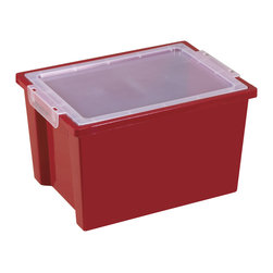 Ecr4kids - Ecr4Kids Large Storage Tub -Tote Bin With Lids Pack Of 20 - Red - Extra-deep, large storage bin that measures 8.25 high, includes lid.Extra-deep, large storage bin that measures 8.25 higH Includes clear, detachable lid. For use with trolley and classroom storage units.NoteColors may vary and are subject to change without notice. Accessories not included unless noted. Adult Supervision Recommended.