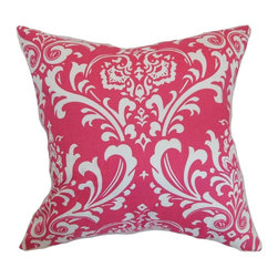 """The Pillow Collection - Malaga Damask Pillow Candy Pink 20"""" x 20"""" - This particular print featured in this throw pillow never goes out of style. The damask pattern is one of the most gorgeous and popular prints used in many decor pieces. This accent pillow brings a modern twist to the classic damask print. This decor pillow features a candy pink and white color palette, which is perfect for spicing up your interiors. This 20"""" pillow is made from 100% plush cotton fabric. Hidden zipper closure for easy cover removal.  Knife edge finish on all four sides.  Reversible pillow with the same fabric on the back side.  Spot cleaning suggested."""