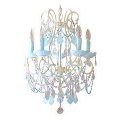 5 Light Chandelier with Aqua Blue Crystals - This spectacular vintage-inspired 5-light chandelier has been painted a beautiful ivory and adorned with milky opal Aqua-Blue French pendants and matching fancy-cut glass bobeches, simply stunning. Plenty of crystal teardrops and layers of crystal chain swags add loads of glam and sparkle, and delicate sea-blue glass bead chains add just the right amount of color and decadence... What a creative way to bring soft color into a room: fresh, exciting, unique and all together Luxurious!