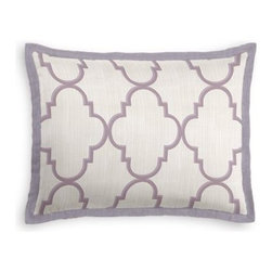 Lavender Large Moroccan Trellis Custom Sham - Stay classy, America!  Add a few Tailored Shams with crisp solid edging to create a bedset with the perfect mix of contemporary style and classic elegance. We love it in this large purple quatrefoil trellis on striated oatmeal gray sateen. A serene and elegant addition to classic decor