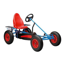 Berg USA - Berg USA Basic AF Pedal Go Kart - Red - 03.15.02.00 - Shop for Tricycles and Riding Toys from Hayneedle.com! The BERG Basic AF Riding Toy is a modern classic just right for kids five years and older. Ready for grass pavement dirt gravel cement and any other packed surface the BERG Basic AF Riding Toy will provide hours of fun up and down life's twisting turns ... or even just the driveway. The kart's tight steering and simple pedal makes going coasting and even pedaling in reverse a breeze. And while that breeze is blowing through your kids' hair you can relax knowing the kart is equipped with a dual wheel rear hand brake which allows for safe and easy stops. About BERG USAFounded in 2010 BERG USA is quickly becoming a recognized name in children's riding toys with their innovative designs and attention to safety that don't get in the way of their dedication to providing outdoor exercise for both kids and adults. BERG USA designs and offers a wide variety of high-quality pedal go-karts for home or commercial use ranging in size to comfortably accommodate ages 2 through adult as well as their versatile line of MOOV construction kits.