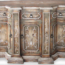 Koenig Collection - Old World Mediterranean Buffet Crackle, Turquoise & Natural Brown - Crackle Buffet, Turquoise and Natural Light Brown with Bone Scrolls,
