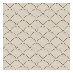 Brown Embroidered Scallop Motif Fabric - Taupe embroidered pearls in art deco scallop motif on crisp, smooth light tan ground.Recover your chair. Upholster a wall. Create a framed piece of art. Sew your own home accent. Whatever your decorating project, Loom's gorgeous, designer fabrics by the yard are up to the challenge!