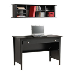 Prepac - Prepac Contemporary Wood Laptop Desk with Wall Hanging Hutch in Black - This Contemporary Set consists of Laptop Desk with Wall Hanging Desk Hutch in Black.