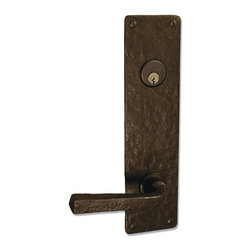 "Coastal Bronze 120 Series Solid Bronze Tubular Latch & Bolt Door Entry Set - Lar - The Coastal bronze 120 Series Solid Bronze Tubular Latch & Bolt Door Entry Set features a large 11"" x 2 3/4"" square plate with 5 1/2"" center to center door prep. Includes your choice of lever, knob or ring turn. Each is a perfect blend of craftmanship in traditional and contemporary design to complement any decor. A living patina finish, the metallic bronze hardware darkens to an old-penny brown then eventually to a greenish/blue patina when exposed to the elements."