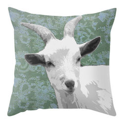 BACK to BASICS - Goat Green Pillow Cover, 20x20 - This goat was enjoying the day in the Litchfield Hills of Connecticut.