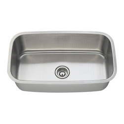 "MR Direct - Stainless Steel Kitchen Sink - The 3118 undermount sink has a single bowl made from 304 grade stainless steel and is available in your choice of 18 or 16 gauge thicknesses. The surface has a brushed satin finish to help mask small scratches that occur over time and keep your sink looking beautiful for years. The overall dimensions of the 3118 are  and a 33"" minimum cabinet size is required. This sink contains a 3 1/2"" center drain, is fully insulated and comes with sound dampening pads. As always, our stainless steel sinks are covered under a limited lifetime warranty for as long as you own the sink."