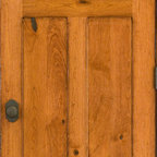 Rustic Doors - Solid Cherry 4-panel Door with Distressed Finish - This door was custom made to look like an old, distressed antique door from a century old home. This door is made with rustic Cherry hardwood and has a lot of character of knots, wormholes, and mineral streaks throughout the wood grain. Our expert finisher artistically applied distress marks on the door to make it look heavily rustic.