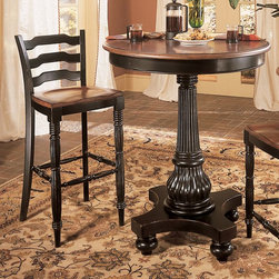 Hooker Furniture - Hooker Furniture Indigo Creek 3 Piece Pub Table Set - HOOK1571 - Shop for Nightstands from Hayneedle.com! Even the smallest space can feel like a party with the Indigo Creek 3 pc. Pub Table Set. The comfortable distressed black rub-through finish gives a feeling of history and stability to this set. The three pub chairs are just enough to keep conversations going around a pint. Solid hardwood and veneer construction ensure lasting beauty so you can build memories for years to come.Not available for sale in or delivery to the state of California.About Hooker Furniture CorporationFor 83 years Hooker Furniture Corporation has produced high-quality innovative home furnishings that seamlessly combine function and elegance. Today Hooker is one of the nation's premier manufacturers and importers of furniture and seeks to enrich the lives of customers with beautiful trouble-free home furnishings. The Martinsville Virginia based company specializes in lifestyle driven furnishings like entertainment centers home office furniture accent tables and chairs.Construction of Hooker FurnitureHooker Furniture chooses solid woods and select wood veneers over wood frames to construct their high-quality pieces. By using wood veneer pieces can be given a decorative look that can't be achieved with the use of solid wood alone. The veneers add beautiful accents of color and design to the pieces and are placed over engineered wood product for strength. All Hooker wood veneers are made from renewable resources and are located primarily on the flat surfaces of the furniture such as the case tops and sides.Each Hooker furniture piece is finished using up to 30 different steps including 13 steps of hand-sanding and accenting. Physical distressing is done by hand. Pieces receive two to three coats of solid lacquer to create extra depth and add durability to the finish. Each case frame is assembled using strong mortise-and-tenon joints which are then reinforced by mechanical fa