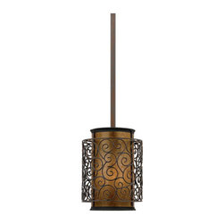 Quoizel Lighting - Quoizel MC843PRC Mica 1 Light Mini Pendant, Renaissance Copper - Long Description: This artistic piece is an addition to the Quoizel Naturals collection. The drum shade is made of genuine amber mica, and features an overlay of thin metal swirls, which appears to be floating around the shade. It provides a warm and inviting accent for most any home.