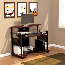 Z-Line Designs - Cyrus Computer Workstation - This contemporary style desk has a cherry finish with black accents. It features clear tempered glass for safety with black border and handsome chrome cylinders support. Pullout keyboard tray has plenty of room for a mouse. The spacious desktop workspace ideal for any home or office. Features: -Workstation.-Contemporary style.-Clear tempered safety glass with black border.-Chrome cylinder glass supports.-Pull out keyboard tray with room for a mouse.-Spacious desktop workspace.-Castors for easy mobility.-Cherry finish with black accents.-Desk Type: Computer Workstation.-Top Finish: Clear with black border.-Base Finish: Cherry.-Accent Finish: Black.-Powder Coated Finish: No.-Gloss Finish: No.-UV Finish: No.-Top Material: Glass.-Base Material: Laminate.-Non-Toxic: Yes.-Water Resistant: No.-Stain Resistant: No.-Heat Resistant: No.-Style: Contemporary.-Design: Standard Desk.-Distressed: No.-Eco-Friendly: Yes.-Cable Management: Yes.-Keyboard Tray: Yes.-Height Adjustable: No.-Drawers Included: No.-Pencil Drawer: No.-Jewelry Tray: No.-Exterior Shelving: Yes -Number of Exterior Shelves: 1..-Cabinets Included: No.-Ergonomic Design: No.-Handedness: Both Left and Right.-Scratch Resistant: No.-Chair Included: No.-Legs Included: No.-Casters Included: Yes -Number of Casters: 5.-Locking Brakes: Yes..-Hutch Included: No.-Treadmill Included: No.-Modesty Panel: No.-CPU Storage: Yes.-Built In Outlet: No.-Built In Surge Protector: No.-Light Included: No.-Tipping Prevention: No.-Modular: No.-Lifestage: Kids,Teen,Adult.-Application: Home Office; Professional; Industrial.-Commercial Use: Yes.-Product Care: Wipe with soft cloth.-Weight Capacity: 71.72 lbs.-Recycled Content: No.Specifications: -FSC Certified: No.-EPP Certified: Yes.-CARB Compliant: Yes.-ISTA 3A Certified: Yes.-General Conformity Certificate: No.-Green Guard Certified: No.-ANSI BIFMA Certified: No.-SCS Certified: No.-ADA Compliant: No.-FIRA Certified: No.-GSA Approved: No.Dimensio