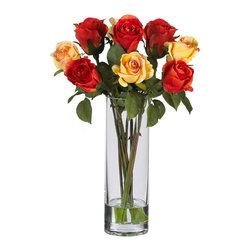 Roses with Glass Vase Silk Flower Arrangement - More than any other flower, the Rose beckons the eye (and nose), literally demanding a closer inspection. And this silk arrangement of beautiful long-stemmed roses is certain to capture the full attention of all who gaze upon it. Delicate blooms adorn fresh green stems (replete with thorns!), giving these beauties an authentic look that will have you stopping to smell them time and time again (for added effect, go ahead and scent them!) A beautiful vase with faux water completes the look. Height= 16 in x Width= 12 in x Depth= 12 in
