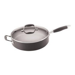 Anolon Advanced Nonstick Hard-Anodized Aluminum 5 qt. Saute Pan with Lid - Crafted from durable hard-anodized aluminum, the Anolon 81887 Advanced Nonstick Hard-Anodized 5 qt. Saute Pan with Lid offers quick, even heating and eliminates the hot spots that plague other cookware. It's ideal for cooking liquid foods that require frequent stirring, and includes a non-stick coating that makes clean-up a breeze. Hand-washing is recommended to preserve this exquisite black pan's surface. It's oven-safe up to 400 degrees Fahrenheit. The ergonomic sure-grip handles are crafted using a durable combination of 18/10 stainless steel and silicone rubber and have been riveted to the sides of the pan for durability. Also included is a clear, dome-shaped lid made of tempered glass, allowing you to monitor food easily without releasing heat, flavors, and nutrients. You can't go wrong with this striking and efficient saute pan. Additional Information:5-quart capacity, 12-inch diameterHard-anodized aluminum construction heats evenlyErgonomic 18/10 stainless-steel/silicone rubber handle stays cool on the stovetopEasy-to-hold loop handles riveted directly to potHand-wash only; avoid using abrasives on the nonstick surfaceDimensions: 21.5 x 13.8 x 4.4 inches ; weight: 9 poundsAbout Anolon CookwareFor those who think recipes are more like suggestions, meet Anolon - a leading brand of gourmet cookware designed to empower food enthusiasts to creatively express themselves in the kitchen. Anolon gives home cooks the ability to cook outside the recipe by offering a wide selection of high-performance, exceptionally crafted cookware, bakeware, cutlery, tools and gadgets that satisfy the needs of each home chef's unique cooking style. Celebrate creativity in the kitchen with Anolon.