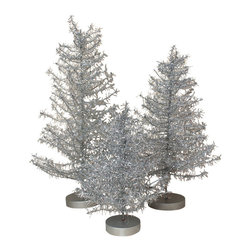 Silver Tinsel Trees - Set of 3 - With a retro feel, this little set of three tinsel trees is a charming way to bring in the kitschy feel of Christmas from decades past into your holiday home. Bendable branches in glittery silver add a pretty sparkle to your Christmas decor.