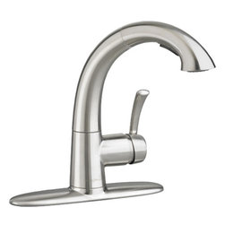 "American Standard - American Standard 4433.150.075 Quince Pull-Out Kitchen Faucet, Stainless Steel - This American Standard 4433.150.075 Quince High-Arc Pull-Out Kitchen Faucet is part of the Quince collection, and comes in a beautiful Stainless Steel finish. This high-arc pull-out faucet features a swivel spout, an adjustable pull-out spray, a supplied yet optional escutcheon, braided flexible supply hoses with 3/8"" compression connectors, a memory positioning valve, a lead-free design, and integral check valves to prevent backflow."