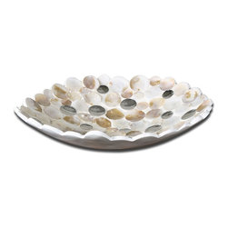 Uttermost - Uttermost Capiz Bowl X-71691 - Capiz shell accented with concave mirrors and a matte white exterior.