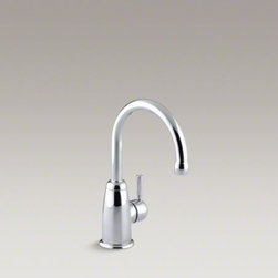 KOHLER - KOHLER Wellspring(R) beverage faucet with contemporary design - This Wellspring beverage faucet adds convenience and style to your kitchen. Pair this modern faucet with a bar/prep sink and an undercounter water filter or chiller for easy access to pure, refreshing drinking water. A gooseneck swing spout makes filling