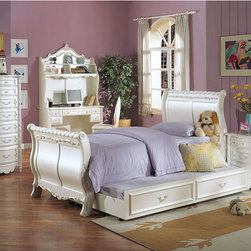 None - Pearl Collection Twin Sleigh Bed - The perfect update for any growing girl's room, this lovely Pearl Collection twin sleigh bed is made with poplar wood and features beautifully intricate decorative carving. Featuring a lovely pearl finish, it is fit for a fairy-tale princess.