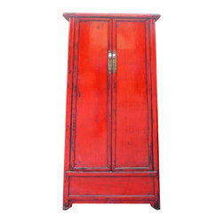 "Golden Lotus - Chinese Antique A Shape Red Lacquer Tall Cabinet Armoire - Look at this Chinese antique storage ""A"" shape moon face cabinet which is made of solid elm wood.  It can be also used as armoire."