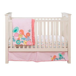 MiGi Modern Blossom 3 Piece Crib Set - Bright and colorful, the MiGi Modern Blossom 3 Piece Crib Set accents your child's crib with colors of summer. Bright and colorful birds perch on geometric flowers, waiting to take off to the next perch. Made with soft, natural cotton, this three-piece set comes with a comforter, sheet, and crib skirt. The crib sheet and skirt are printed to match the comforter. This set is machine washable on cold.Dimensions:Comforter: 45L x 35W in.Sheet: 52L x 28W in.Crib skirt: 15 inch dropAbout BananafishBananafish was founded in 1997 and has grown to become a leading manufacturer of infant bedding and nursery décor. In 2007 Bananafish became part of the Betesh Group family. Bananafish has found success tapping into global design resources to bring the latest trends to their product lines. While on-trend, they still manage to balance a look that appeals to classic and contemporary tastes. You'll find Bananafish products featured in all the hot media, such as Pregnancy Magazine, American Baby, HGTV.com, OK Pregnancy and Newborn, and more. Luxurious comfort, superior quality, and style that lasts, Bananafish will help you create a nursery that delights.