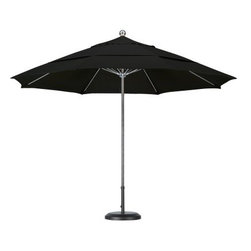 California Umbrella 11 ft. Steel and Fiberglass Double Vent Pacifica Market Umbr - The California Umbrella 11 ft. Steel and Fiberglass Double Vent Pacifica Market Umbrella combines the strength and beauty of stainless steel with the innovation of a premium fiberglass rib system. This combination adds flexibility and longevity under windy conditions by using thicker and more resilient fiberglass on top of a substantial, single-piece steel pole that has twice the wall thickness of the average umbrella. A deluxe pulley lift system completes the simple and sleek design, meeting the high demands of commercial-grade construction. The extra-large 11-foot canopy comes in a wide variety of colors in Pacifica fabric and features a standard double wind vent cut to enhance wind tolerance. Strength and resilience are what commercial settings demand, and this umbrella is unmatched in both categories.About California UmbrellaCalifornia Umbrella is known for producing high-end, quality patio umbrellas and frames for over 50 years. The California Umbrella trademark is immediately recognized for its standards in engineering and innovation among all the brands in the United States. As a leader in the industry, California Umbrella strives to provide you with products and service that will satisfy even the most demanding consumers. Its umbrellas are constructed to give the consumer many years of pleasure, and its canopy designs are limited only by the imagination. California Umbrella is dedicated to providing artistic, innovative, fashion-conscious, and high-quality products for all your needs.