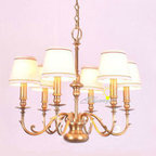 Harbor House Antique Copper 6 Fabric Shades Chandelier -