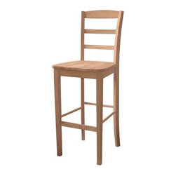 International Concepts Madrid 30 in. Bar Stool - The International Concepts Madrid 30 in. Bar Stool boasts clean lines and European style and elegance. The slat back, wooden seat, and turned support beams make this 30-inch-high stool stylish and comfortable. It has been crafted from durable solid parawood. Grown primarily in the Far East, this widely used milky-white wood stains evenly and is known for its hardness. This piece is unfinished, with a natural, rustic look, but can easily be painted or stained to complement your unique style. This bar stool is backed by a 5-year manufacturer's warranty. Some assembly required. Dimensions: 16.5W x 19.5D x 46.75H inches, seat height: 30 inches. Please note: This item is not intended for commercial use. Warranty applies to residential use only. About International ConceptsFounded in 1982, International Concepts, is a manufacturer and distributor of high-quality, real wood furniture. From ready-to-finish pieces to the John Thomas Furniture line of full-sized dining groups, created in partnership with well-known designer Carol Wheeless, International Concepts is truly where beautiful furniture begins. Each piece is suitably casual for everyday living but handsome enough for special occasions. Based in Thomasville, N.C., International Concepts' furniture is proudly made in the USA.