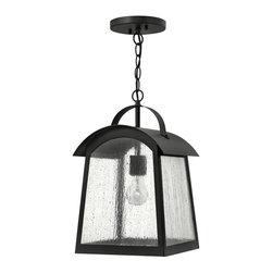 Hinkley Lighting - 2652BK Putney Bridge Outdoor Hanging Lantern, Black, Etched Opal Glass - Traditional Outdoor Hanging Lantern in Black with Etched Opal glass from the Putney Bridge Collection by Hinkley Lighting.