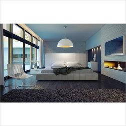 Modloft - Modloft Thompson Bed in White Leather-Queen - Mod loft - Beds - MD321QWHT