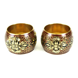 MarktSq - Hand Carved Metal Napkin Ring (Set Of 4) - This is a brass napkin ring is hand carved and painted in enamel to come up with a with a unique one of a kind napkin ring.