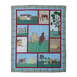Patch Quilts - Horse Twin Quilt - -Constructed of 100% Cotton  -Machine washable; gentle dry  -Made in India Patch Quilts - QTHORS