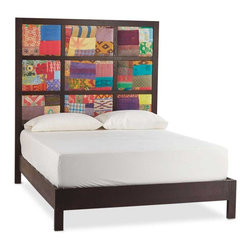 "Viva Terra - Kantha Panel Bed - The vibrant, multicolored embroidered kantha panels on our bed are created from recycled saris.  Exhibiting textile fabric mastery and visual appeal, they offer an exhilarating alternative to the often-predictable look of an upholstered bed. The stately nine- panel headboard is framed in solid red oak, which also graces the frame. Made in the USA by an eco-furniture maker renowned for high quality and sustainable practices. Each bed is unique. QUEEN 66""W x 86""L x 72""HKING 82""W x 86""D x 72""HCAL KING 78""W x 90""D x 72""H"