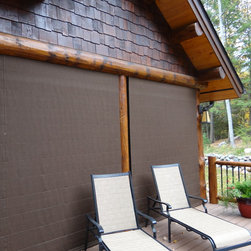 Outdoor Shades cover screen porch - Weather Queen Exterior Screen Porch Shades protect the homeowner's screens and porch interior.