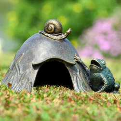 Toad House with Snail - An amusing garden accent, our enchanting toad house is constructed of weather-resistant aluminum to provide years of enjoyment. Depicting an open-mouthed toad reaching up to the snail atop the domed house, this whimsical scene will add a touch of charm to your garden.