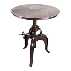 Copper Topped Iron Crank Pub Table - This is the real thing! Solid Copper Topped Iron Crank Pub Table. What a statement this will make to your home decor and design motif.  This style isn't for everyone because it's just too much of a conversation piece. Pictures can't do this piece justice. Long order times are possible if this item not in stock. Call for details.