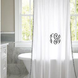 Ballard Designs - Audree Pom Pom Shower Curtain - Mix & match with our Ballard Signature & Amelie Towels. 12 buttonhole eyelet holes for hanging. Liner required. Layer in soft color with our playful Audree Pom Pom Shower Curtain. This white 100% cotton shower curtain comes in your choice of four fabric-covered pom pom trim colors.Audree Pom Pom Shower Curtain features:. . . *Monogramming available for an additional charge.*Allow 3 to 5 days for monogramming plus shipping time.*Please note that personalized items are non-returnable.