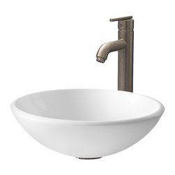 Vigo - VGT203 White Vessel Sink with Brushed Nickel Faucet - The VIGO White Phoenix Stone Glass Vessel Sink with Brushed Nickel Faucet will bring a contemporary look to any bathroom.