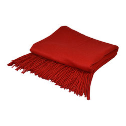 "Pur by Pur Cashmere - Signature Blend Throw Red Lipstick 50""x65"" With 6"" Fringe - Signature cashmere blend throw 10% cashmere / 80% wool / 10% microfine Dry clean only. Inner mongolia."