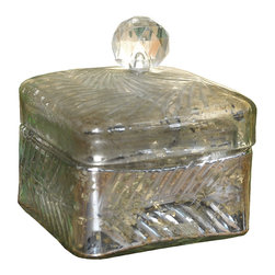 Square Silver Box with Garland - Small - Light up a tabletop with the glow of antiqued silver glass.  The texture of the Square Silver Box with Garland is a graceful continuous design stylized from an organic motif so it covers the metallic glass in a soft, shimmering pattern that surrounds the fluted knob.  Whether for hiding treasures, holding fragrant mixes, or simply serving for looks, the box is an elite jewel for your home.