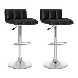 Sonax - Sonax CorLiving Low Back Bar Stool in Black Leatherette (Set of 2) - Sonax - Bar Stools - B607UPD - Add spice to any bar or kitchen island with the Bar Stool featuring a comfortable foam padded seat finished with Black soft tufted leatherette upholstery. Accented with a chrome gas lift and chrome base this contemporary design will compliment any kitchen setting while offering the option to adjust to variable bar heights with ease. A great addition to any home!