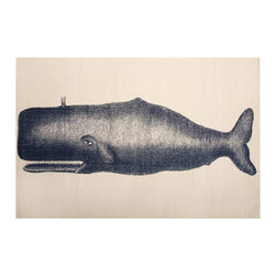 "Thomas Paul - Moby Whale Bath Mat - The Thomas Paul Moby Whale bath mat features a hand screened print on 100% cotton. The bath mat features one of our favorite themes: nautical imagery. The design features an Moby the Whale peacefully swimming along. The bath mat measures 36"" x 24"". The print adds a nautical accent to your bathroom.   About the Artist: After graduating from NYC's famed FIT, Thomas Paul started his career as a colorist and designer at a silk mill. Eventually, he leveraged his knowledge of silk materials & print to launch a neckwear line of his own. Over time, Paul loved the idea of applying menswear print and design into a collection of home decor, which is what we see in his goods today. His background has embedded in him a passion for quality production techniques. Even as his brand grows, he continues to ensure all of his prints are hand screened - a slow, detailed process that results in each piece being a unique piece of artwork. Paul also pushes the envelope in terms of bold prints and hand ground materials.       ""My vision for the thomaspaul brand has always been about combining classic design motifs from different periods in textile design. Incorporating anything from an 18th century Damask pattern to a camouflage print. The unifying thread between so many different styles is to change the designs so they are updated for today. For me this means changing the scale, so they are always bold, and reducing down the colors and details, so most designs are reduced to two or three colors and become very flat, bold prints. I am always looking to vintage fabrics and motifs for inspiration and new ideas, but always try to update these to look good for today."" - Thomas Paul   Product Details:"