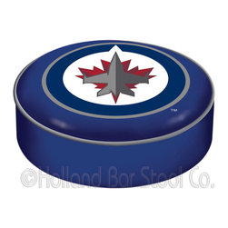 "Holland Bar Stool - Holland Bar Stool BSCWinJet Winnipeg Jets Seat Cover - BSCWinJet Winnipeg Jets Seat Cover belongs to NHL Collection by Holland Bar Stool This Winnipeg Jets bar stool cushion cover is hand-made in the USA by Covers by HBS; using the finest commercial grade vinyl and utilizing a step-by-step screen print process to give you the most detailed logo possible. This cover slips over your existing cushion, held in place by an elastic band. The vinyl cover will fit 14"" diameter x 4"" thick seats. This product is Officially Licensed. Make those old stools new again while supporting your team with the help of Covers by HBS! Seat Cover (1)"