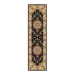 Safavieh - Lyndhurst Collection Traditional Black/ Ivory Runner (2'3 x 8') - Traditional Persian and European designs enhance any living room or home decorRunner features traditional motif set on black background with ivory border Enhanced polypropylene area rug construction keeps dirt out