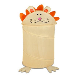 Medium Kid's Pop-Up Hamper, Lion - Honey-Can-Do HMP-02056 Milo the Lion Animal Clothes Hamper, Yellow.  Go ahead, feed the animals! Make laundry day a roaring good time for the whole family with this adorable, pop-up animal hamper. This friendly feline loves to snack on socks, clothes, and pajamas and hides them away neatly at the end of the day. The easy open and close lid keeps dirty laundry out of sight. Great for teaching kids cleaning and organization skills without any fuss. The dual purpose hamper works equally as nice for storing your child's prized (and often overflowing) stuffed animal collection.