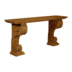 Console with a Medium Brown Wax Finish - Carved, s-curved double volutes on molded pedestals are the high-relief pilasters which graciously support the ends of the Reclaimed Lumber Console. Formal in design, rustic in execution, handmade by skilled modern craftsmen, this traditional wall table consists of wood repurposed from former uses and treated with a beautiful wash of layered neutral tints to achieve the hidden depths and soft traceries of grain that you'll see in the elegant scroll console.