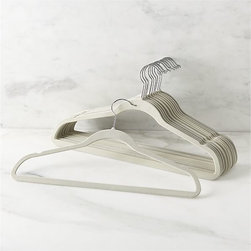 Set of 12 Flocked Natural Hangers - These hangers are awesome. They save closet space, and silk blouses won't slide off.