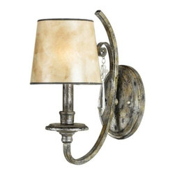 Quoizel - Kendra Wall Sconce by Quoizel - The rich, aged-looking tone of the Mottled Silver finish gives the Quoizel Kendra Wall Sconce true Old World appeal perfect in a bathroom or along a hallway. The luster of the finish on the curvaceous steel frame only adds to the warm glow of the Oyster Mica glass shade, as does the unexpected sparkle of the ice crystal drop accent.For more than 80 years, Quoizel (based in Charleston, SC) has dedicated itself to bringing timeless lighting designs into modern homes. By consciously avoiding design fads, consistently balancing form and function and using only the highest quality materials, Quoizel lighting designs do indeed stand the test of time.The Quoizel Kendra Wall Sconce is available with the following:Details:Oyster Mica shadeMottled Silver finishIce crystal drop accentOval wall plateUL Listed for damp locationsLighting:One 60 Watt 120 Volt Type B10 Candelabra Base Incandescent lamp (not included).Shipping:This item usually ships within 5-7 business days.